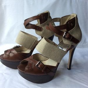 Leather and canvas high sandals